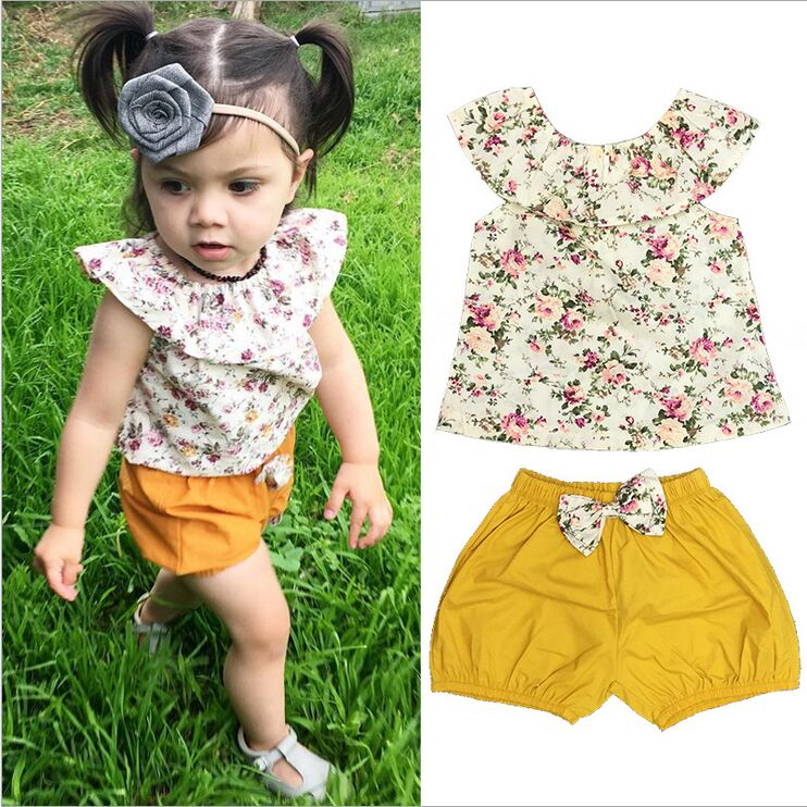 2pcs Baby Children's Clothing Set Spring 2018 Summer T-shirt Top + Shorts 2 Pieces Toddle Girl Outfit Set Easy To Use