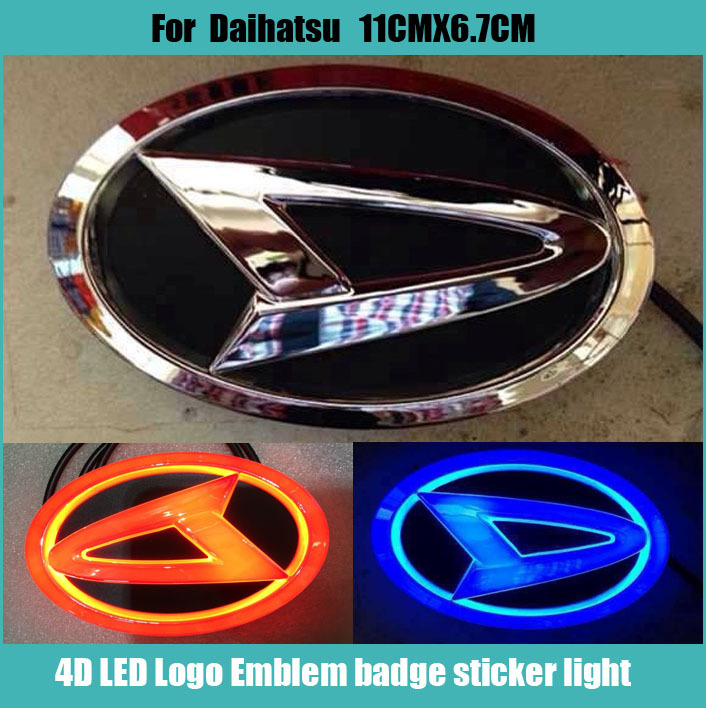 Car stiker Waterproof 4D xenon white/blue/red  LED EL Cold light badge logo Emblem Lamp for DAIHATSU 11cmx6.8cm dste np bx1 battery