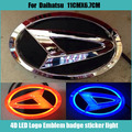 Car stiker Waterproof 4D xenon white/blue/red  LED EL Cold light badge logo Emblem Lamp for DAIHATSU 11cmx6.8cm
