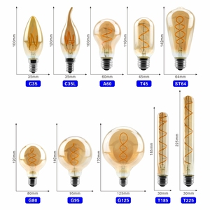 Image 2 - Retro LED Spiral Filament Light Bulb 4W 2200K 220V 240V C35 A60 T45 ST64 T185 T225 G80 G95 G125 Vintage Edison LED Lamp
