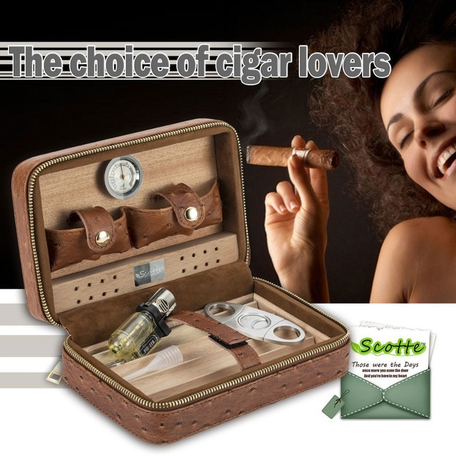 Scotte Portable Travel Cigar Humidor Case (Holds up to 4 Cigars)