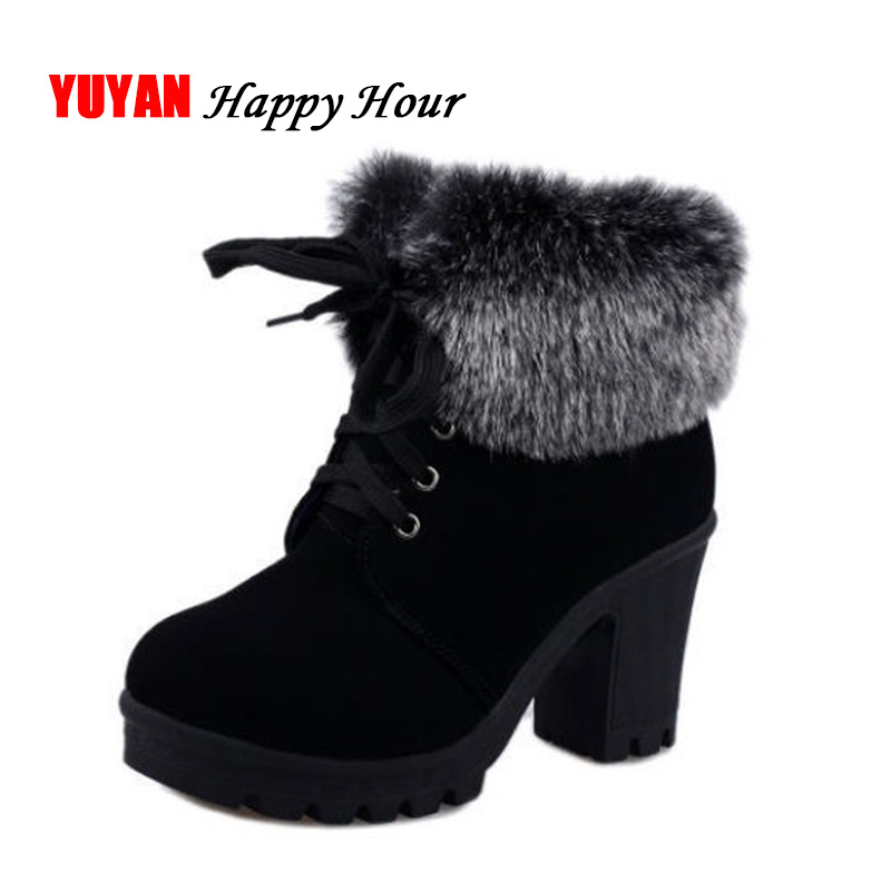 High Heel Winter Shoes Women Winter Boots Fashion Women's High Heel Boots Plush Warm Fur Shoes Ladies Brand Ankle Botas YX328 image