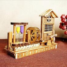 Wooden Windmill Pendulum Hourglass Music Box Eight Sound Box Rotation Dancing Birthday Gift To Send Male