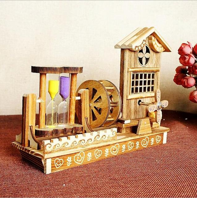 Wooden Windmill Pendulum Hourglass Music Box Eight Sound Rotation Dancing Birthday Gift To Send Male