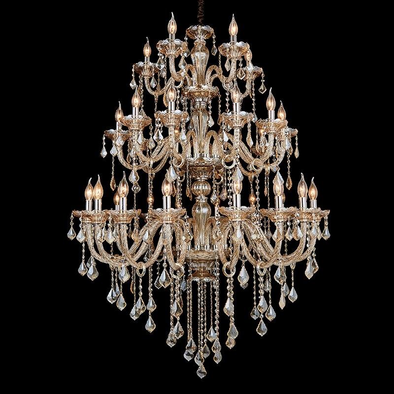 15/18/30/36 heads silver cognac Crystal lamp Led fixture bohemian crystal chandelier living room retro chandeliers Lampada led
