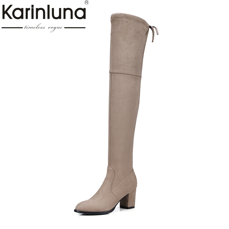 KarinLuna Brand Design 7 Colors Large Size 34-43 Platform Sexy Square Med Heels Woman Shoes Women Long Boots For Party Dancing