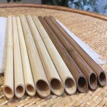 Оптовая продажа 100 шт эко-многоразовые соломы 20 см карбонизированный бамбук соломинки для смузи острым Кофе молока трубочкой