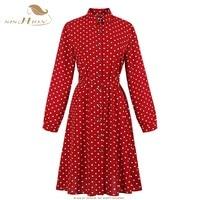 SISHION 2019 New Fashion turn down collar Women dress button up autumn long Sleeve Sexy Red Dot Midi Dress SP0291