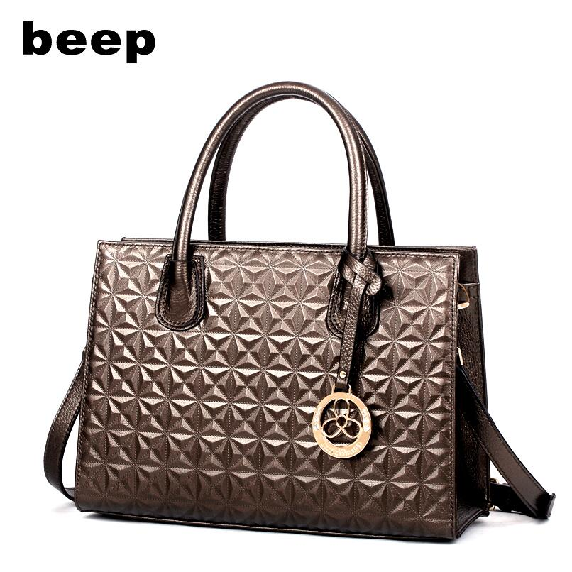 Beep Brand 2017 New Superior cowhide Leisure fashion Genuine Leather bag tote Commuter killer bag leather  women's bag beep beep go to sleep