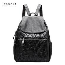Dlkluo Модные Натуральная кожа рюкзак женщин решетки алмаза сумки на плечо для студентов колледжа школьный Mochila Бесплатная доставка