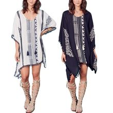 Womens Rayon V-Neck Asymmetric Bikini Cover Up Ethnic Geometric Floral Pullover Beach Dress Pom Pom Trim Tassels Neck Tie Blouse недорого