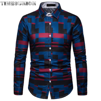 Men's Standard-Fit Long Sleeve Checked Plaid Shirt Patch Chest  Thin Soft Cotton Button-Collar Striped Dress Shirt checked knot front shirt