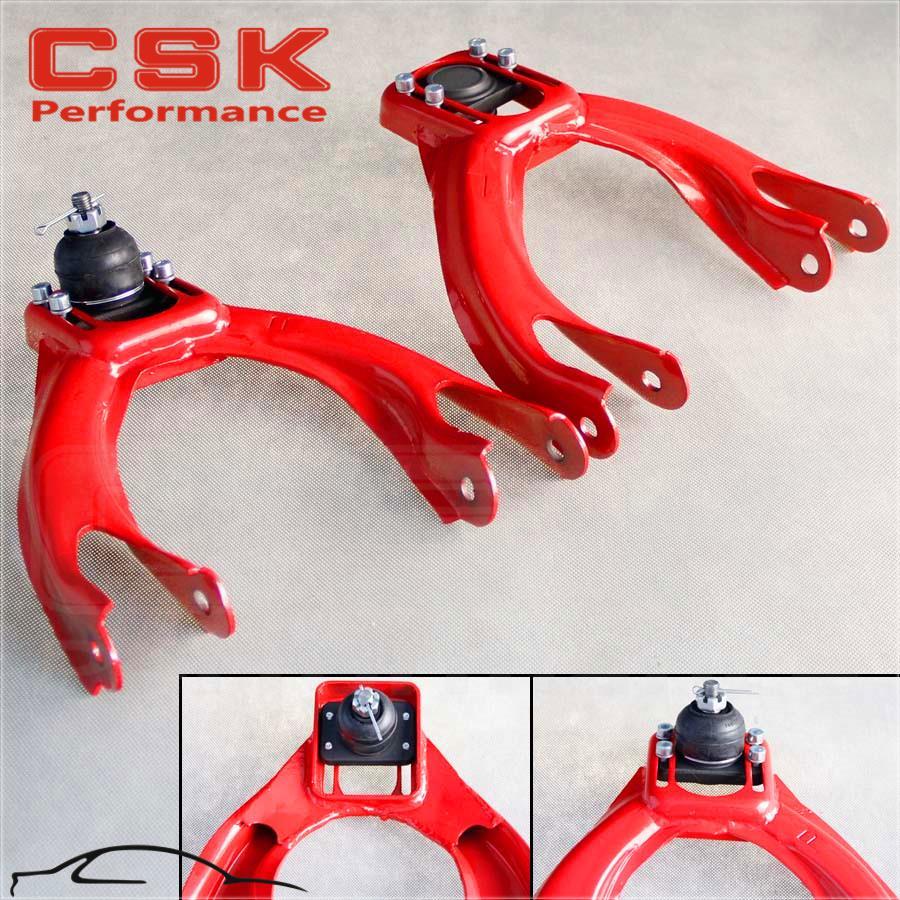 For 92-95 Honda Civic Performance Stainless Steel Adjustable Front Upper Camber Kit Red EG EH EJ