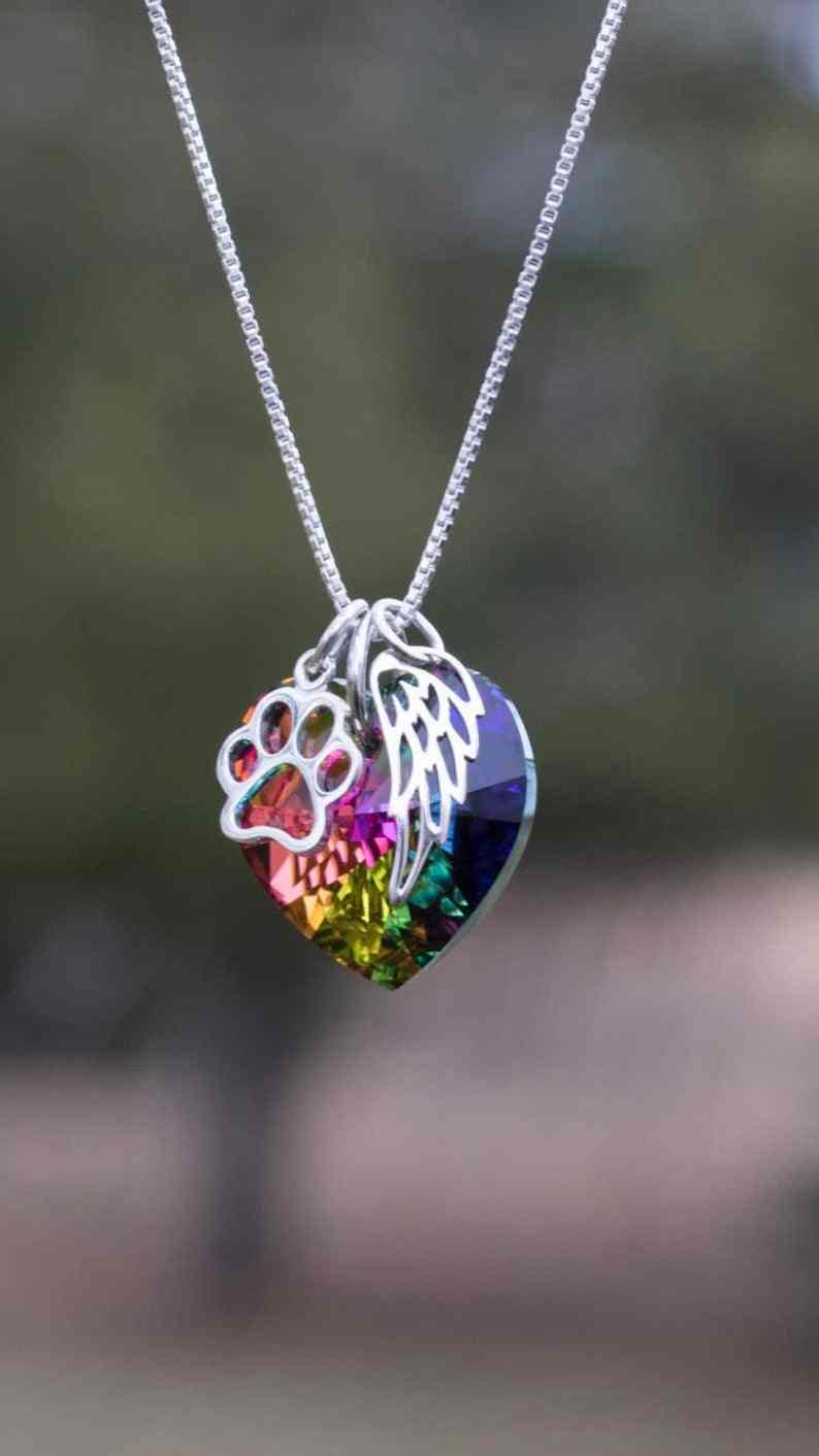 Rainbow Bridge Pet Loss Necklace -Pet Loss Gift - Pet Memorial - Pet Loss Jewelry - Memorial Gift - Loss of Pet - Fur Baby Gift