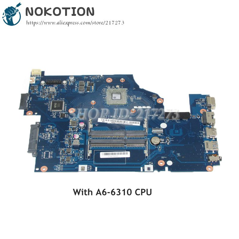 NOKOTION Z5WAE LA-B232P MAIN BOARD For Acer aspire E5-521 Laptop Motherboard A6-6310 CPU Onboard DDR3 NBMLF11004 NB.MLF11.004 wzsm original usb board with cable for acer aspire e5 521 e5 571 usb board ls b162p tested well