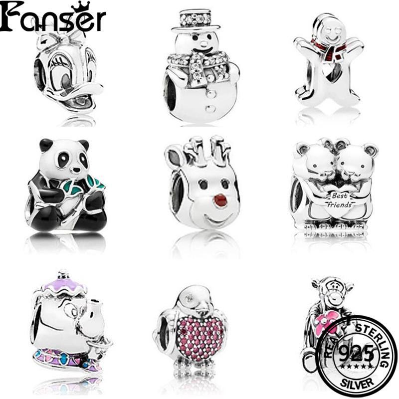 FANSER Animal series Bead Accessories DIY Pandor 100% S925 Pure Silver Original Copy Suitable Women bracelet Bangle Jewelry