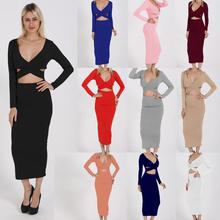 European and American Sexy V-neck Hollow Long-sleeved Package Hip Dress Women Summer