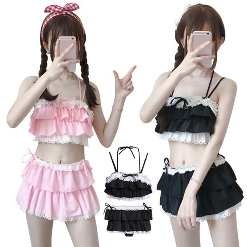 New Arrival Woman Lolita Bikini Cosplay Pink And Black Color Swimsuit Hollowed Multilayer Hem Biquini Women Swimsuit Free Delive