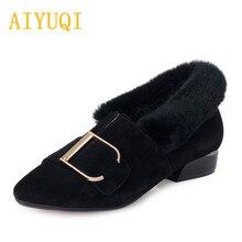 Купить с кэшбэком 2019 autumn new genuine leather women shoes, comfortable and breathable fashion dress shoes women,Rabbit hair Trend women shoes