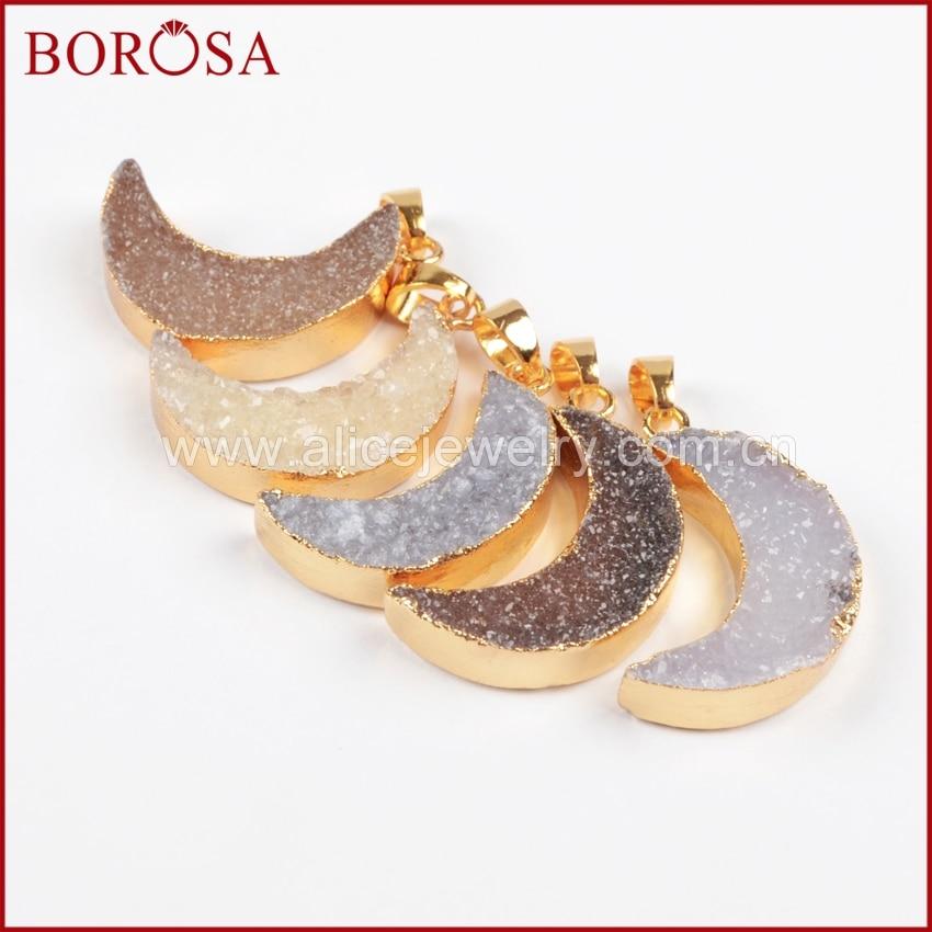 BOROSA Moon Shape Natural Stone Druzy Geode Gold Bezel Pendant Druzy Drusy Geode Pendant Fashion Jewelry