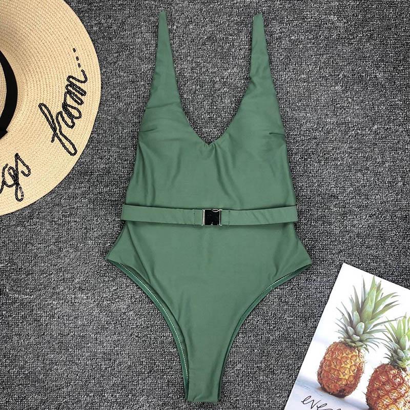 Одноцветный купальный костюм с бретельками, модель 2020 года, сексуальный купальник для женщин, с поясом, с высокой посадкой, пляжная одежда, u-... 16