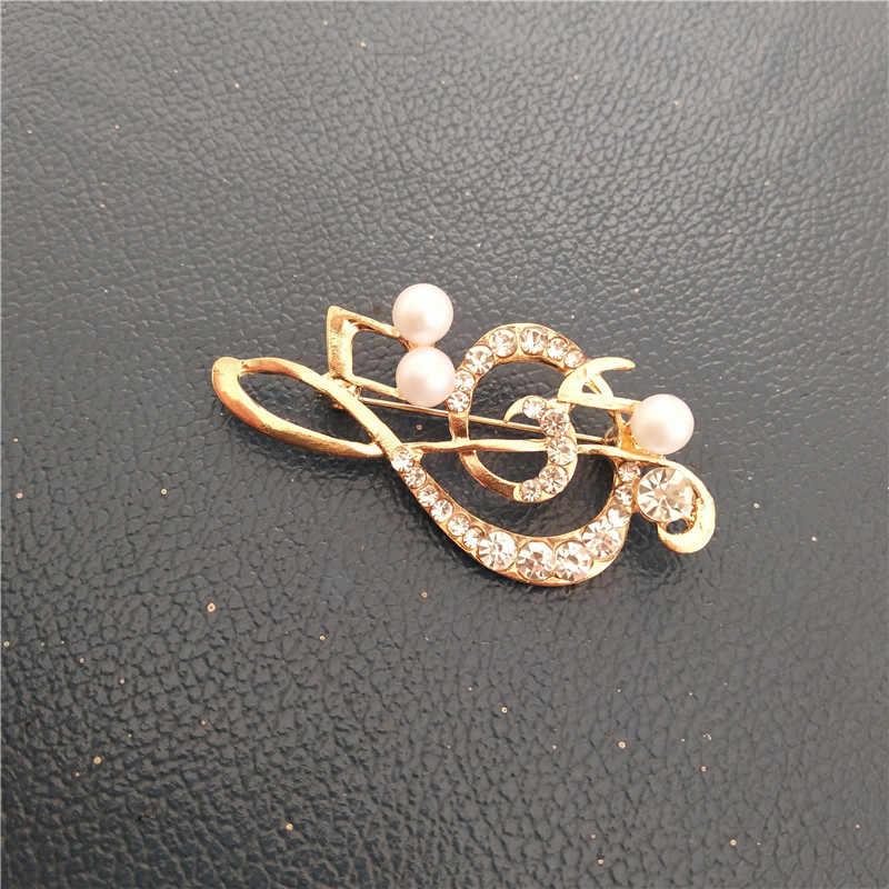 Warna Kristal Catatan Musik Bros Berkualitas Tinggi Retro Emas Besar Mahkota Bros Zircon Pin untuk Wanita