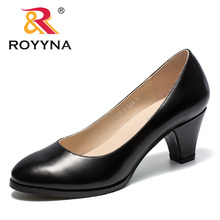 ROYYNA New Arrival Classics Style Womnen Pumps Round Toe Femme Office Shoes Slip-On Female Formal Shoes Spike Heels Lady Shoes