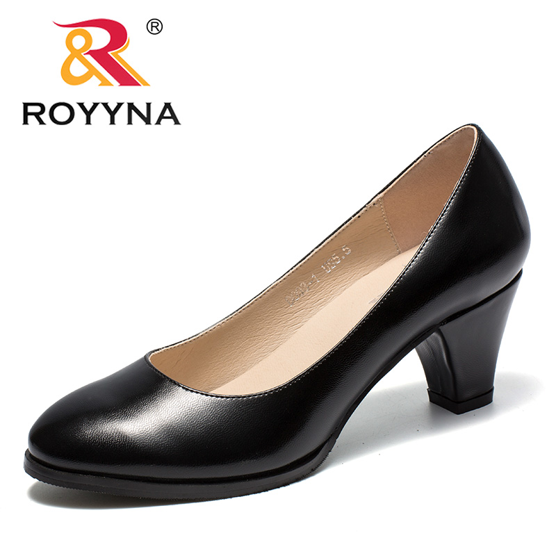 ROYYNA New Arrival Classics Style Womnen Pumps Round Toe Femme Office Shoes Slip On Female Formal Shoes Spike Heels Lady Shoes