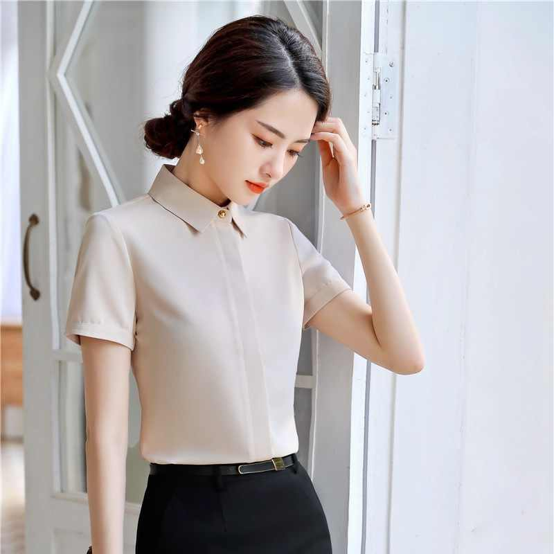 7e770498e5a75b 2019 Summer New Fashion Apricot Casual Blouses & Shirts Women Business Work Wear  Tops Clothes OL