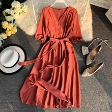 Women Dress 2019 Summer Korean version fashion literary small fresh solid color Chiffon V-neck belt long dress Vestidos