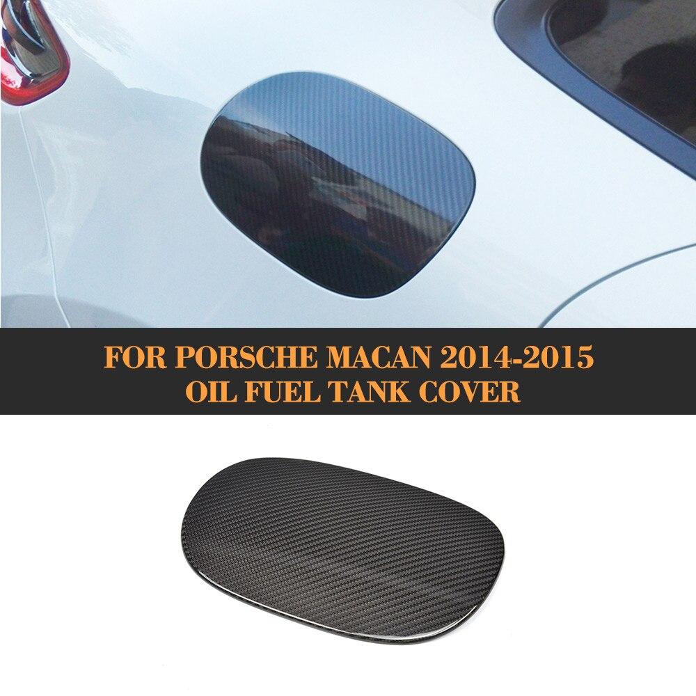 Garniture automatique de couverture de réservoir de carburant d'huile de voiture de Fiber de carbone pour Porsche Macan 2014-2015