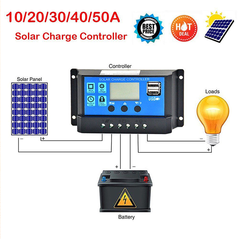 50A 40A 30A 20A 10Amps 12V 24V Automatic Solar Cell Charge Controller PWM Solar Photovoltaic Regulator LCD Display 5V USB 50a 40a 30a 20a 10amps 12v 24v automatic solar cell charge controller pwm solar photovoltaic regulator lcd display 5v usb
