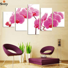 No frame 5panel/lot Modern canvas painting HD Large image wall painting flower artwork H086 Giveaways wall sticker