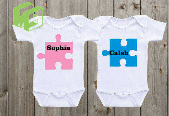 Twins Baby clothes puzzle designs baby onesies twin onesies custom - onesies designs