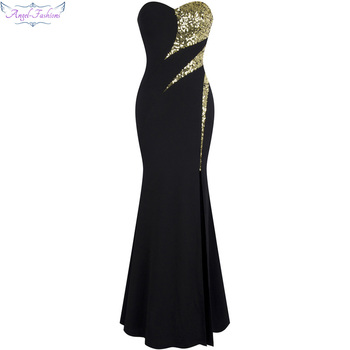 Angel-fashions Long Prom Dress Splicing Golden Sequin Slit Mermaid Gown 368