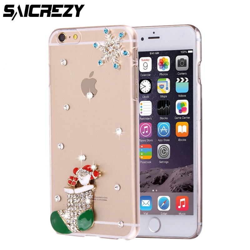 HOT 3D Luxury Bling Crystal Diamond Hard DIY Christmas Present Snowflake Case For Samsung Galaxy S3 S4 S5 S6 S7 Edge S8 S9 Plus