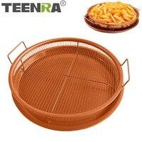 TEENRA Cooper сетчатый противень для запекания антипригарная форма для выпечки для духовки круглые чипсы Crisping корзина для выпечки блюдо кухонные...