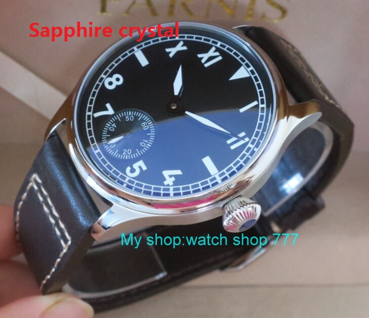 Sapphire crystal	44 mm PARNIS black dial Asian 6498/3621 Mechanical Hand Wind men watches luminous Mechanical watches  04rnm limited edition watch 50mm big dial parnis men s watch asian 6498 mechanical hand wind pvd black watchcase 84aa