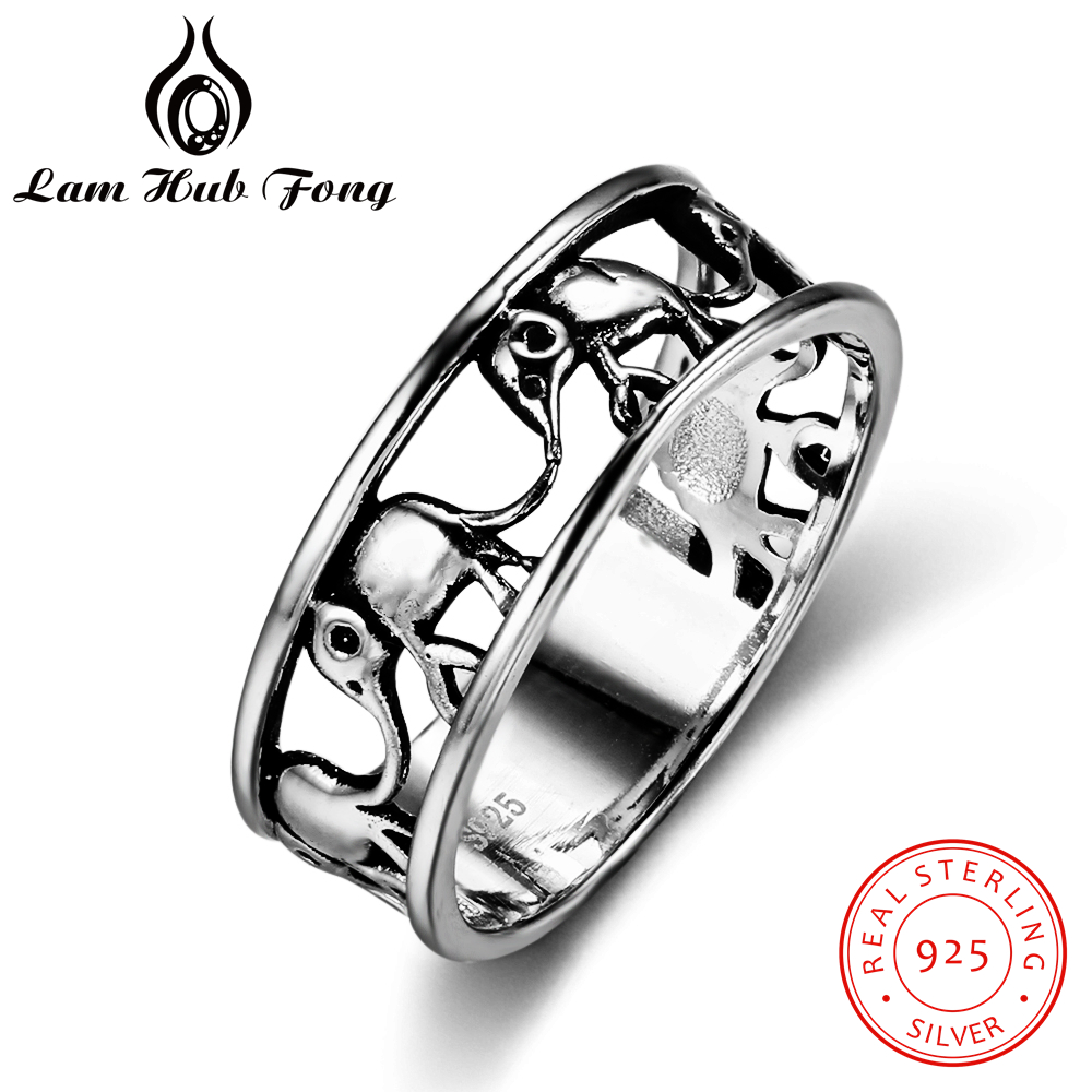 Pure 925 Sterling Silver Ring Animal Elephant Antique Open Adjustable Vintage Wedding Engraved Ring Fashion Jewelry Men Women