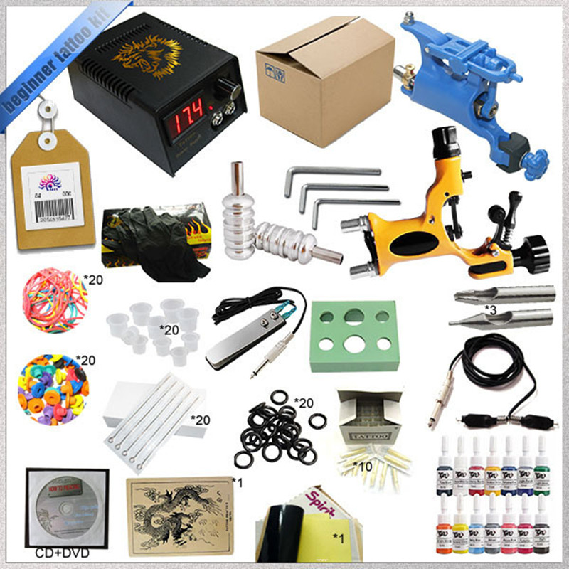 New Complete Beginner Rotary Tattoo Machine Kit Tattoo Machine Power Supply Inks Needles Grips Tips solong tattoo complete tattoo kit 2 pro machine guns 54 inks power supply foot pedal needles grips tips tk244