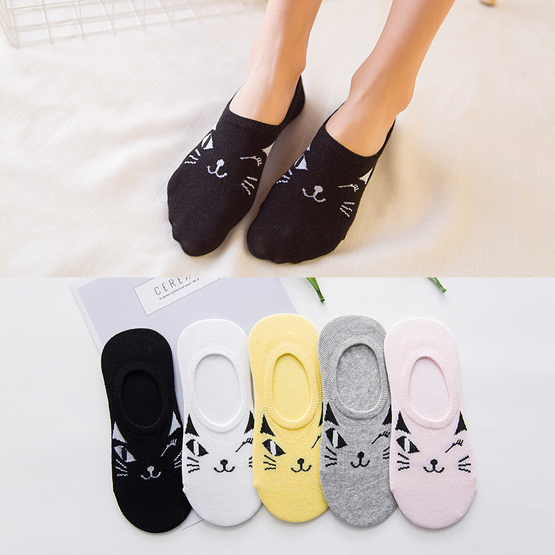 1pair=2pcs Invisible Color Girl Boy Hosier CAT Warm Comfortable Cotton Bamboo Fiber Girl Women's Socks Ankle Low Female