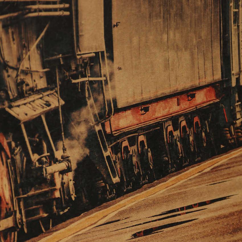 TIE LER Vintage Steam Train Nostalgic Vintage Kraft Paper Poster Decoration Painting Wall Stickers 36 X 51.5cm