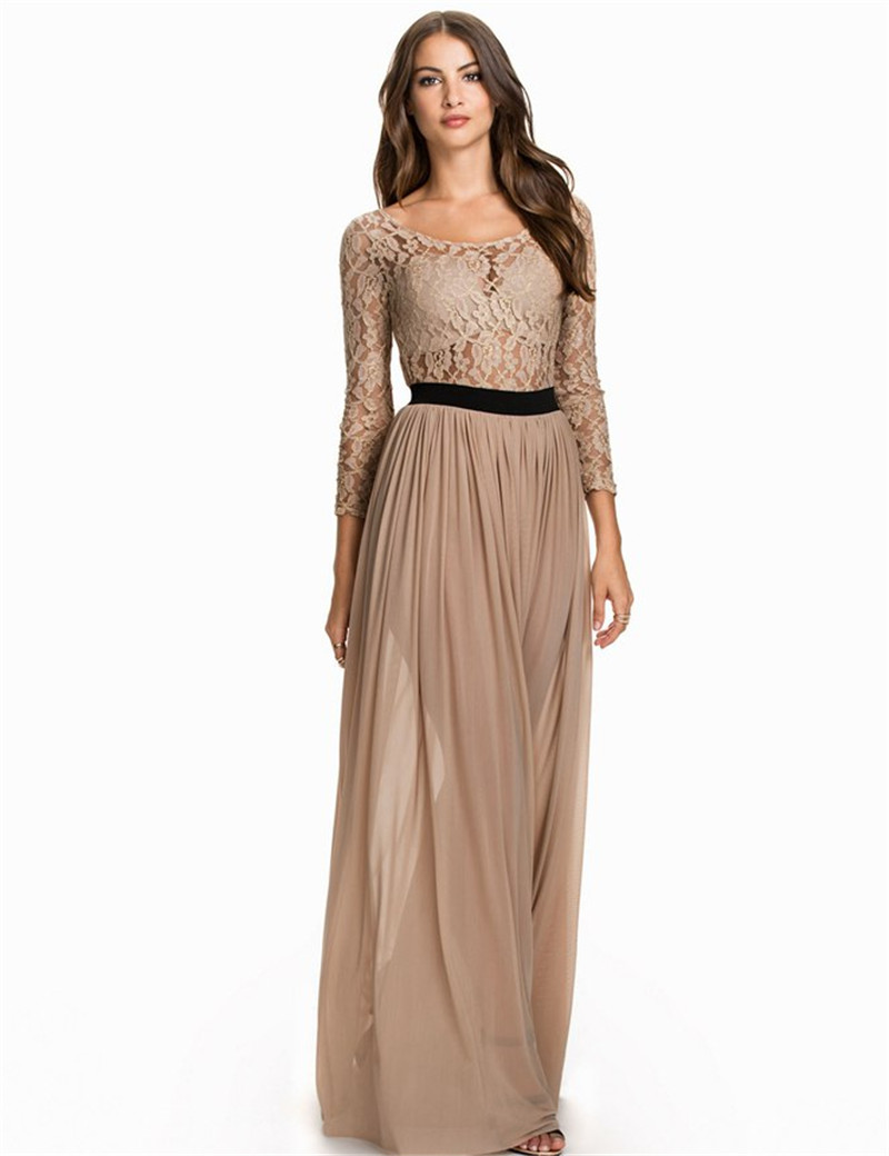 RF80138 Hot sale solid lace long sleeve chiffon maxi dress 2015 ...