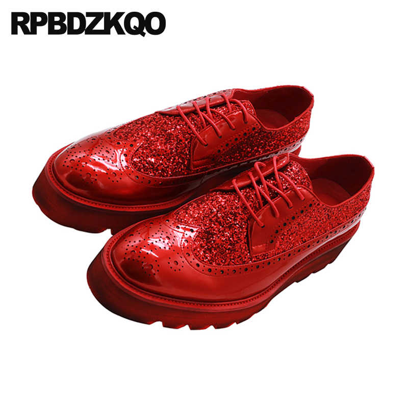 4a2df473d97a ... Prom Creepers Designer Shoes Men Luxury 2018 Platform Sequin Wingtip Glitter  Wedges Brogue Spring Black Red ...