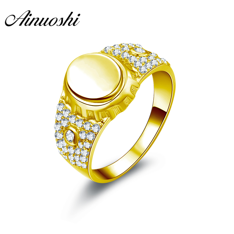 AINUOSHI Luxury Smooth Gold Ring 10K Solid Yellow Gold Men Ring Rows Drill Band Engagement Wedding Jewelry 4.7g Wedding Band кольцо s j063 wedding band ring