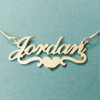 Heart With Personalized Name Necklace Pendants For Women Custom Letter Jewelry Stainless Steel Gold Filled Bridesmaid