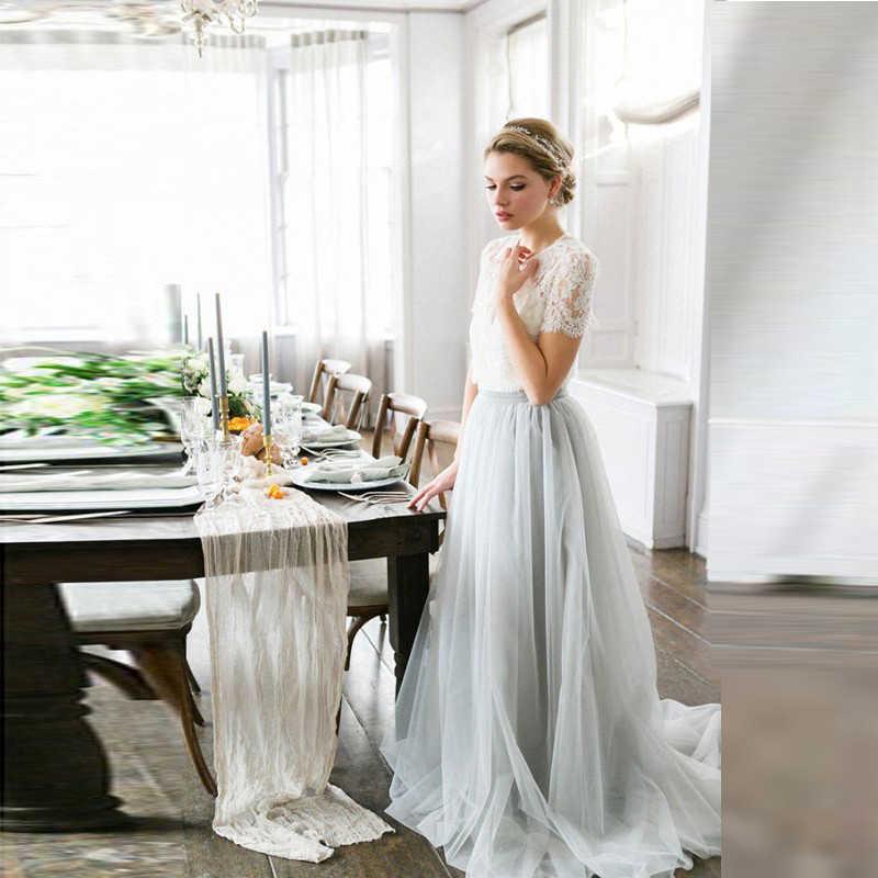 6b1f3ca361 2018 Beautiful Silver Grey Bohemian Wedding Gowns Sexy Illusion Lace ...