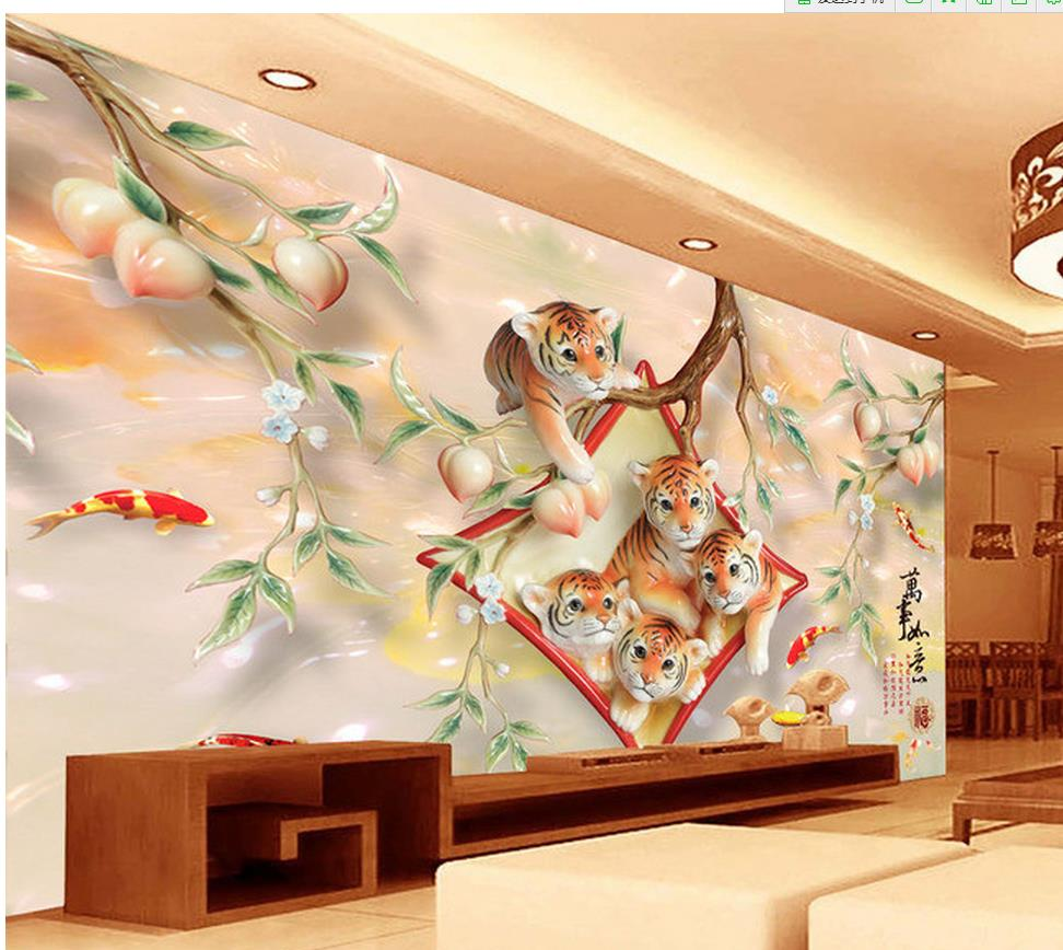 3d room wallpaper home decoration peach tree branches for 3d wallpaper for home decoration
