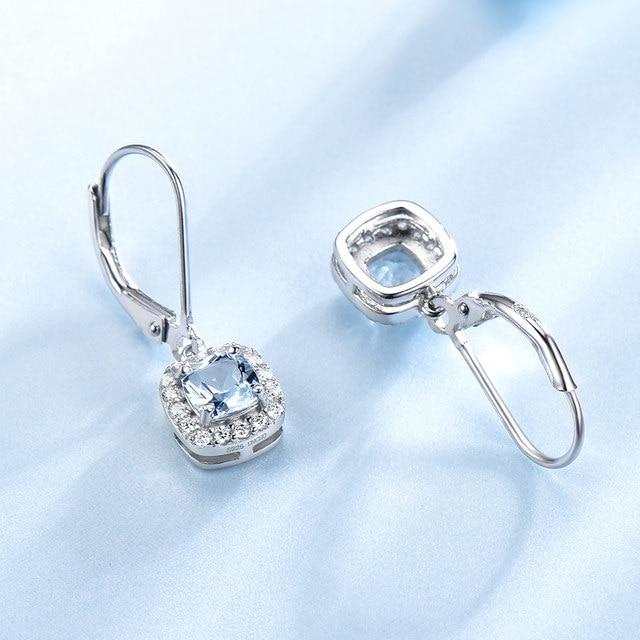 UMCHO bleu ciel boucles doreilles topaze pierres précieuses aigue-marine Clip boucles doreilles réel 100% 925 argent bijoux pour femmes élégant cadeau bijoux fins