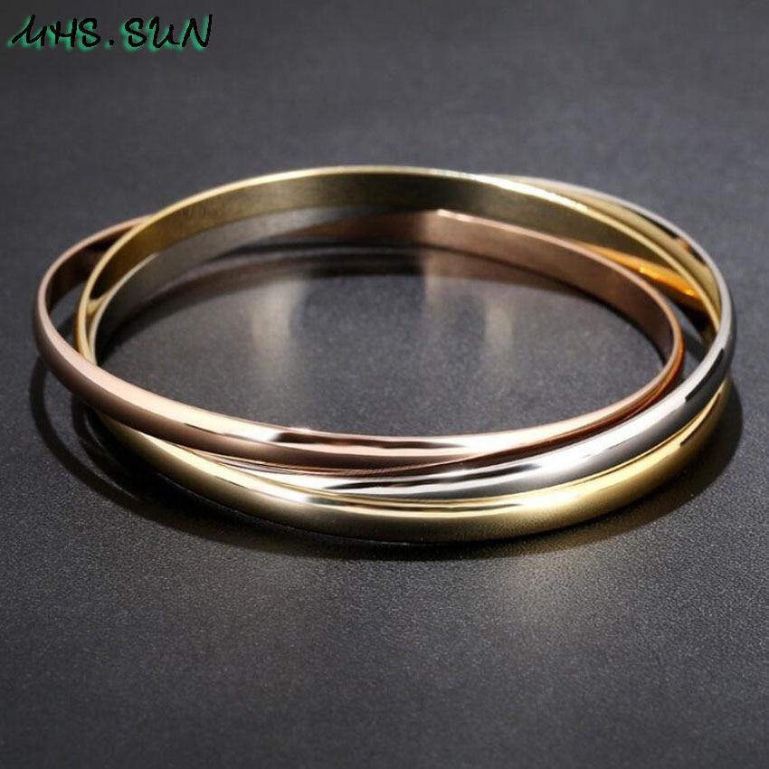 1-31PCLot Fashion Design Women 3 Layers Bangle Bracelets For Girls Exaggerated European All-Match Jewelry Female Bangle